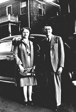 Odessa Beckham & Robert Luther Clontz in front of their apartment at 1537 South Tryon Street, Charlotte, N.C. in 1941